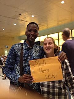 Abdi with Natalya after arriving in America.